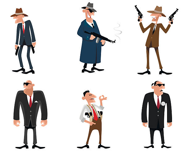 six gangsters set - gangster stock illustrations, clip art, cartoons, & icons