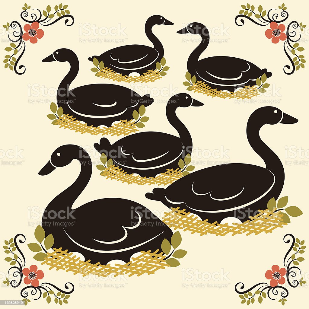 Six Geese a Laying vector art illustration