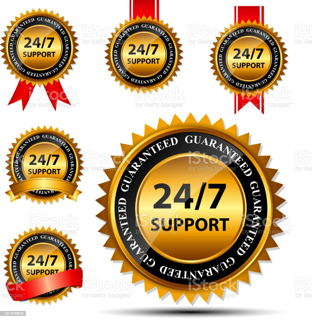 Six golden 24/7 support label vectors royalty-free six golden 247 support label vectors stock vector art & more images of agreement