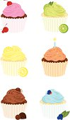 Six Delicious Gourmet Cupcakes: Chocolate Cherry, Key Lime, Lemon Meringue, Birthday, Chocolate Lover, and Blueberry.