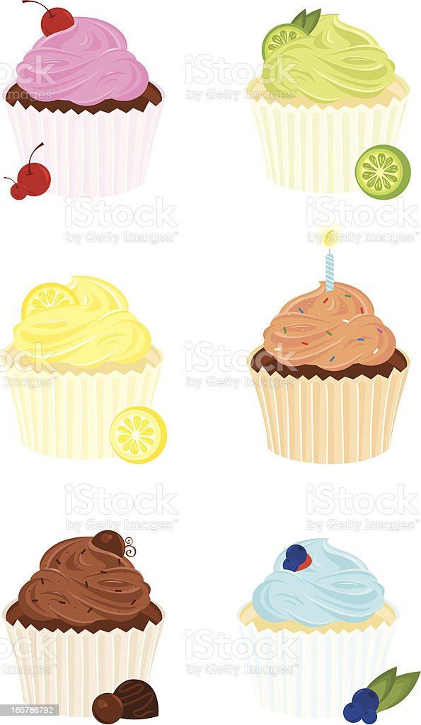 Six Gourmet Cupcakes vector art illustration