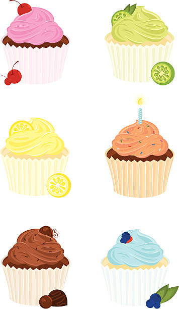 Six Gourmet Cupcakes vector art illustration