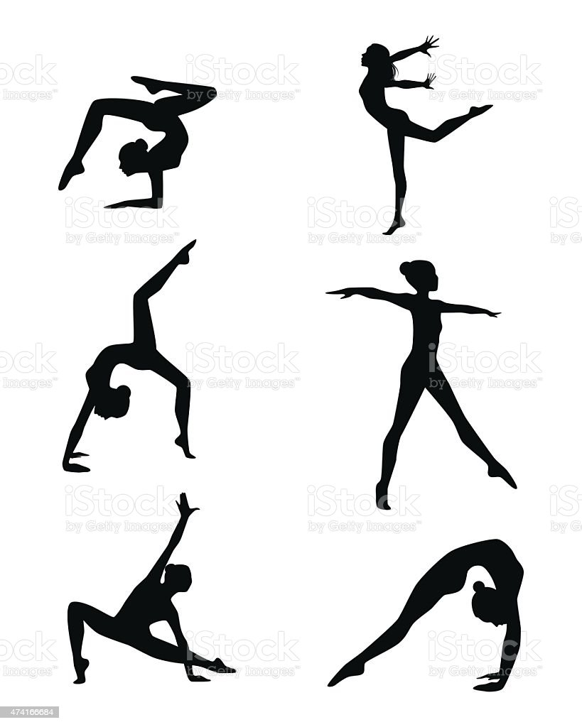 Six gymnastes ensemble - Illustration vectorielle