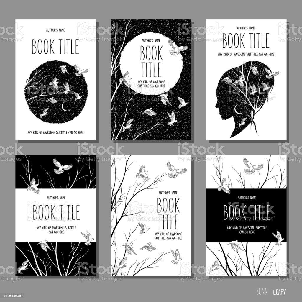 Sechs Hand Gezeichnete Buchcovervorlagen Stock Vektor Art und mehr ...