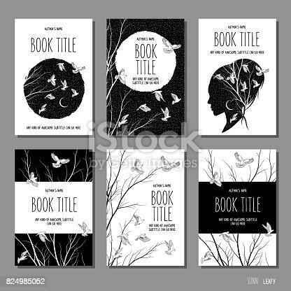 istock Six hand drawn book cover templates 824985052