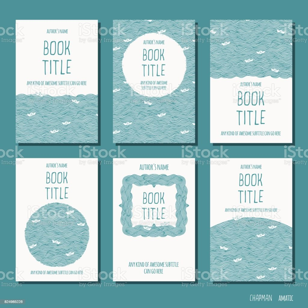 Six Hand Drawn Book Cover Templates Stock Vector Art More Images