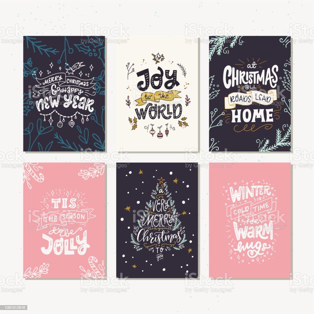 Weihnachtskarten Sprüche.Sechs Weihnachtskarten Mit Weihnachten Zitate Und Sprüche Stock