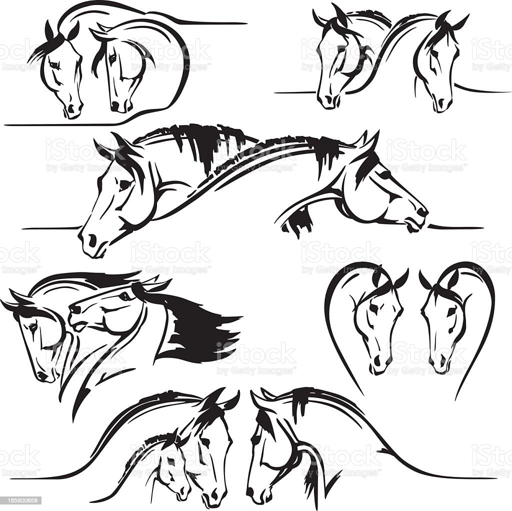 Six horse's heads compositions vector art illustration