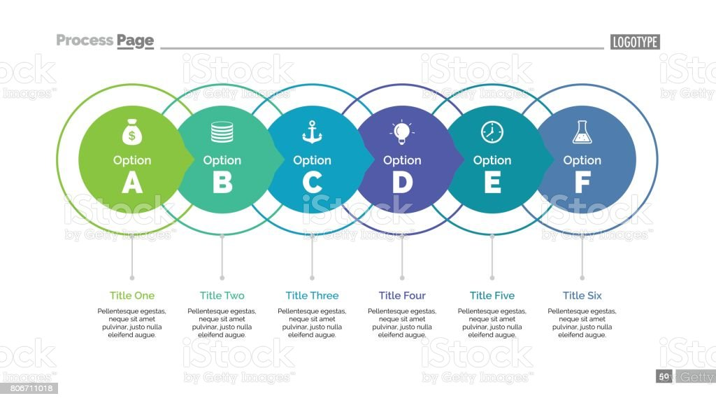 Six Ideas Slide Template royalty-free six ideas slide template stock illustration - download image now