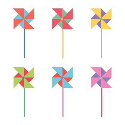 Six illustrations of colorful windmills