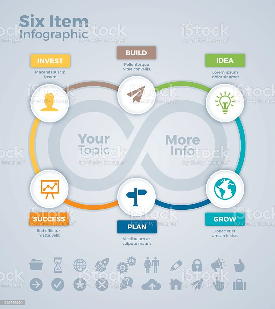 Six Item Infographic vector art illustration