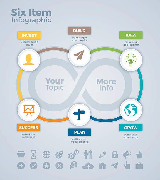 six item infographic - 샘플 텍스트 stock illustrations