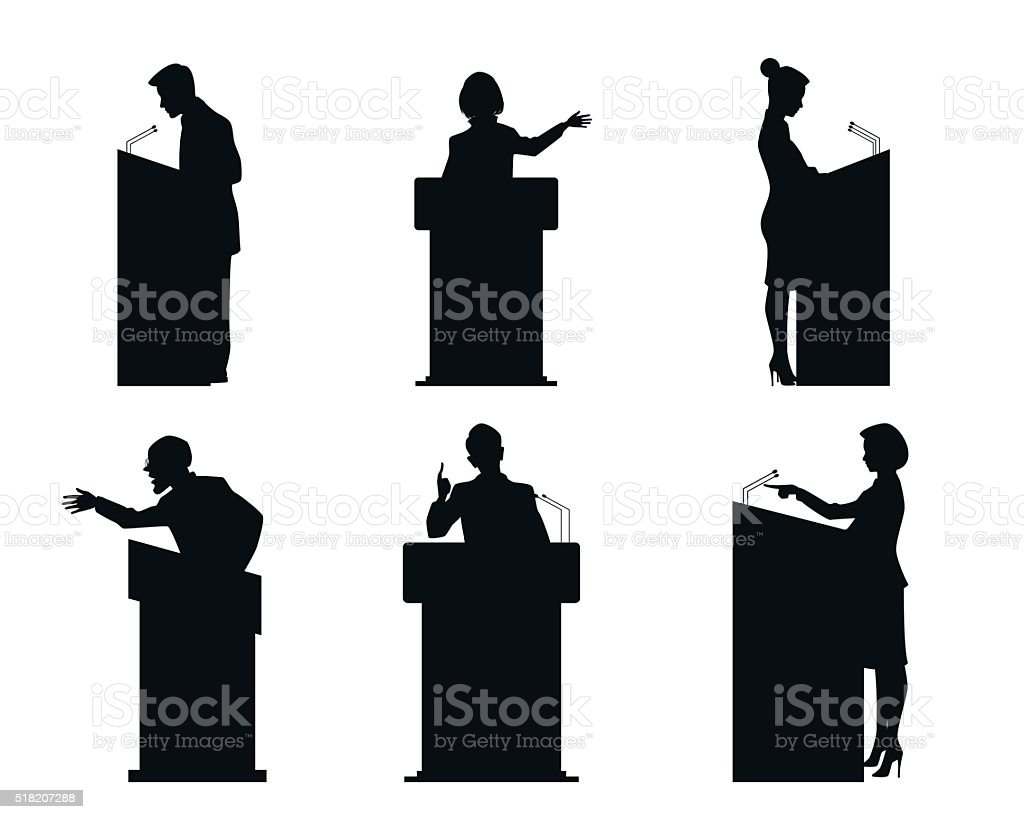 Six lecturers silhouettes vector art illustration