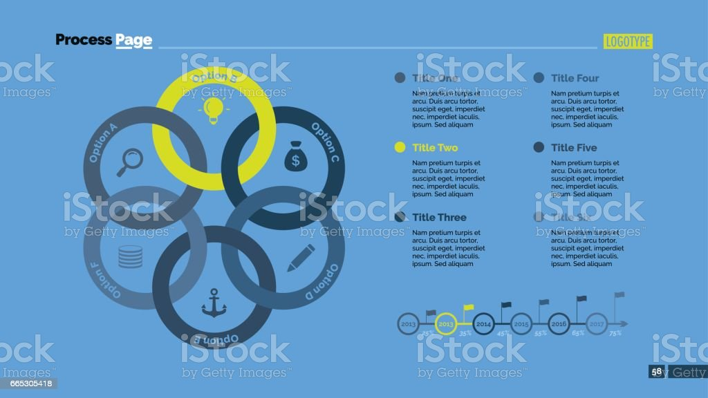 six linked circles slide template stock vector art more images of
