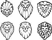 Six lions heads