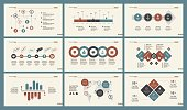 Infographic set can be used for workflow layout, diagram, annual report, presentation, web. Business and logistics concept with process, percentage, timing, flow and bar charts.