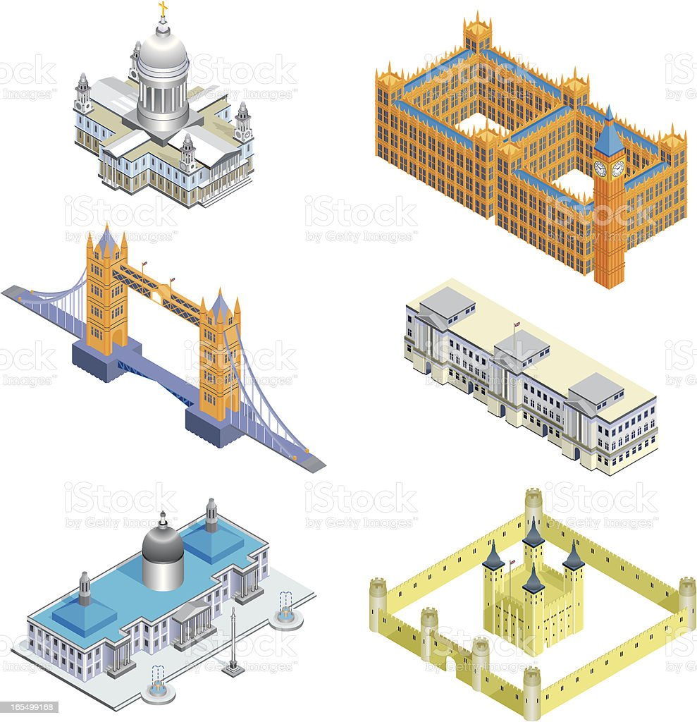 Six London Buildings royalty-free stock vector art
