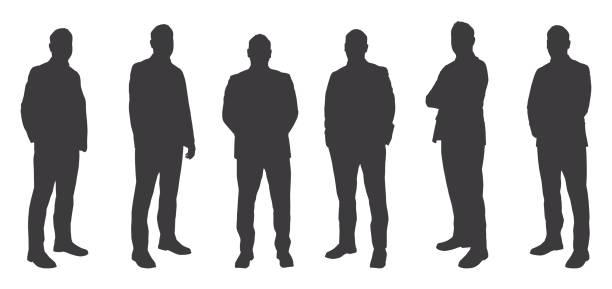 ilustrações, clipart, desenhos animados e ícones de seis homens sihouettes - business man
