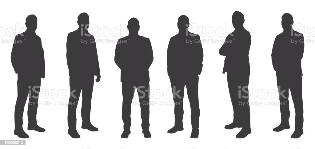 Six Men Sihouettes vector art illustration