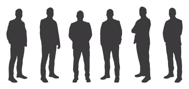 Six Men Sihouettes Vector of Six Men Sihouettes in silhouette stock illustrations