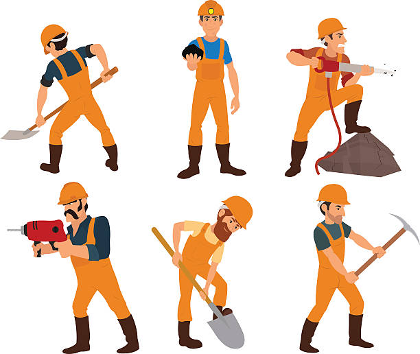 bildbanksillustrationer, clip art samt tecknat material och ikoner med six miner isolated on white background. - miner