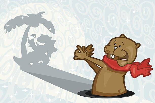 ilustraciones, imágenes clip art, dibujos animados e iconos de stock de seis más semanas de fabulosos - groundhog day