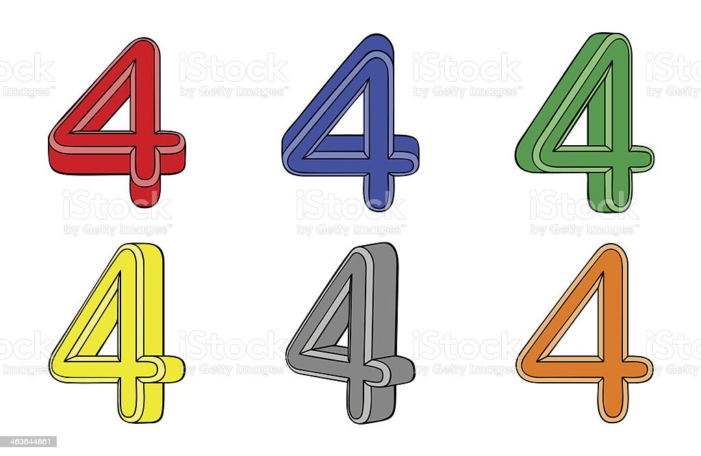 Six number (four) 3d royalty-free stock vector art