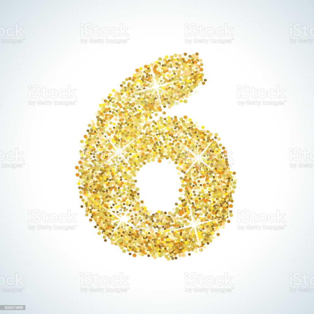 Six number in golden style. Vector illustration gold design vector art illustration