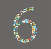 Six number social network with media icons, vector illustration
