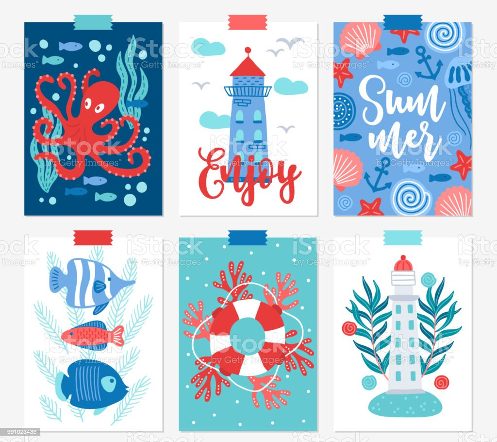Six ocean greeting cards with octopus seaweed bubble fish lighthouse six ocean greeting cards with octopus seaweed bubble fish lighthouse royalty m4hsunfo