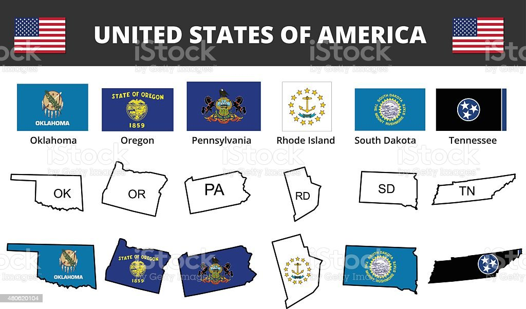 Seis dos EUA Estado Bandeiras e mapas - ilustração de arte em vetor