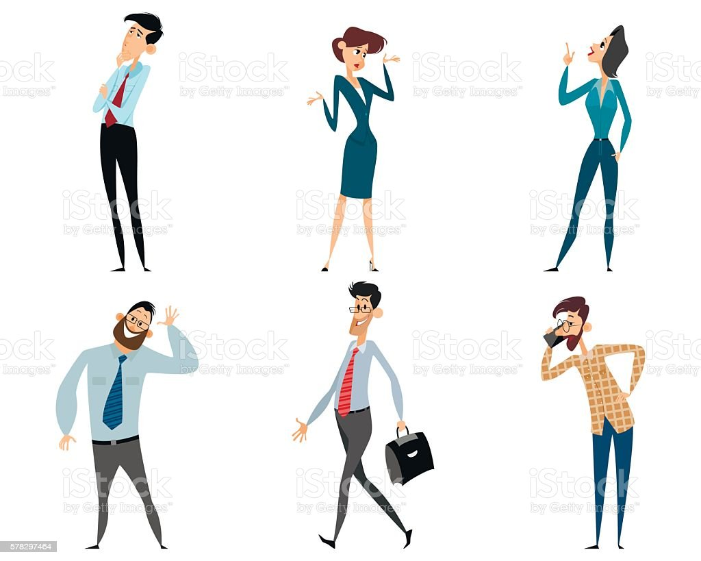 Six office workers vector art illustration