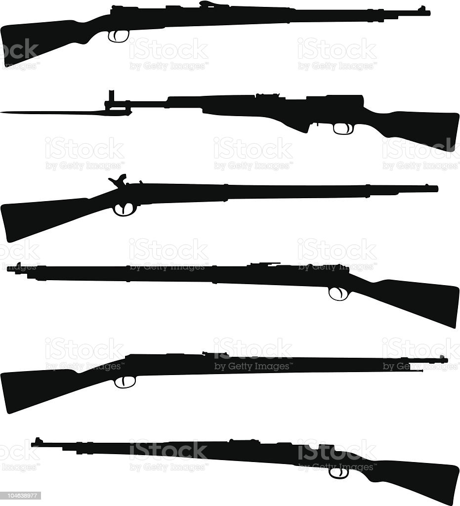 Six old shotguns vector art illustration