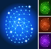 Six on triangular nodes connection structure. The line art indicates internet connection, molecular structure, node connection and flowing energy. This modern technology is ideal for information architecture and connectivity drawings. Glowing circles in blue, red, purple and green are included in icon download of vector art and jpg file.