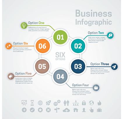 Six Option Business Infographic Chart