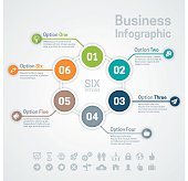 Business infographic circle options or diagram with six options, space for your text and extra icons and symbols. EPS 10 file. Transparency effects used on highlight elements.