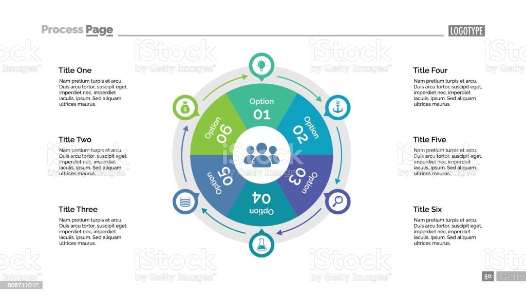 Six Options Cycle Slide Template royalty-free six options cycle slide template stock illustration - download image now
