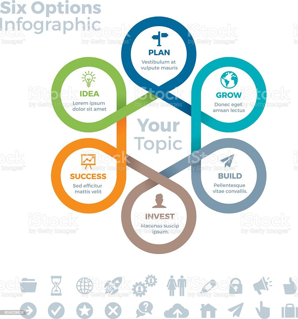 Six Options Infographic vector art illustration