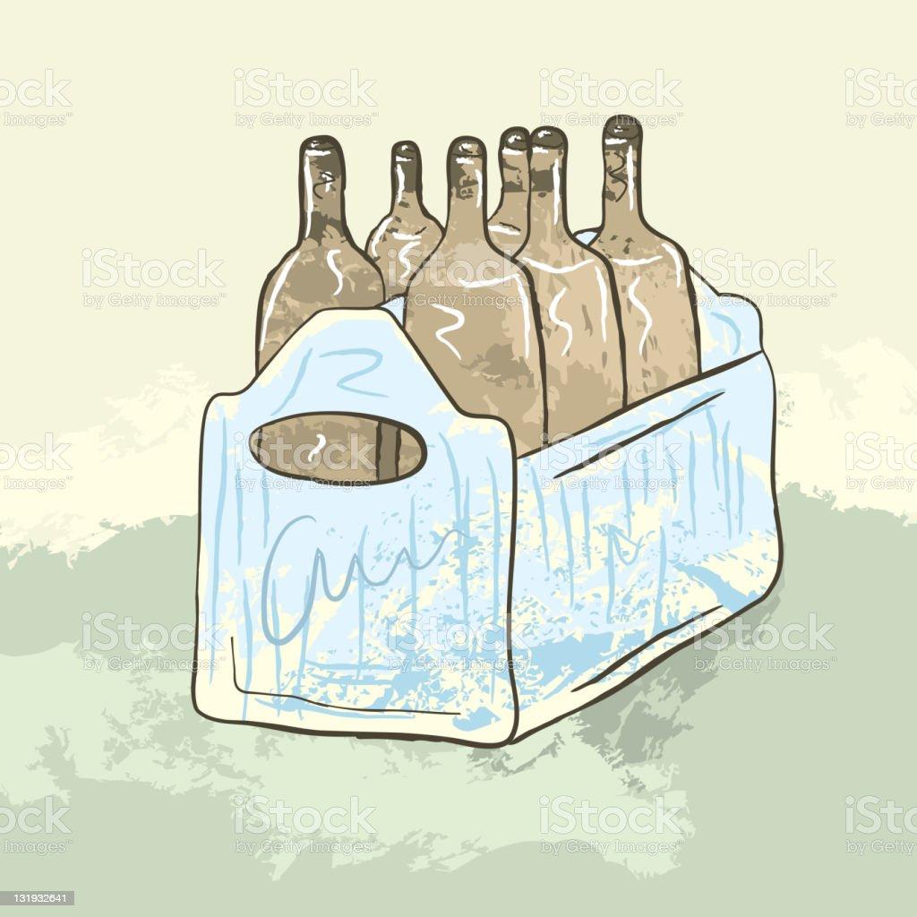 Six pack case of brown ale bottles in blue crate vector art illustration