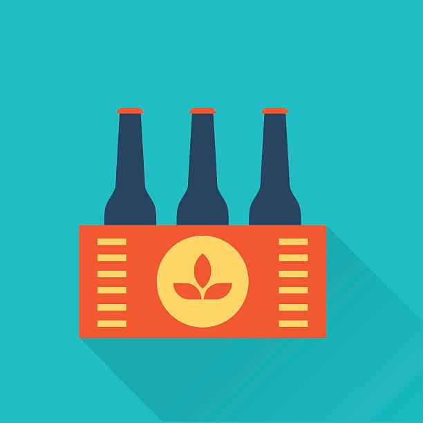 Six pack of Beer bottles in a box vector art illustration