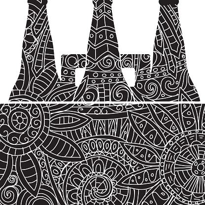 Six pack of beer tote Tangle pattern