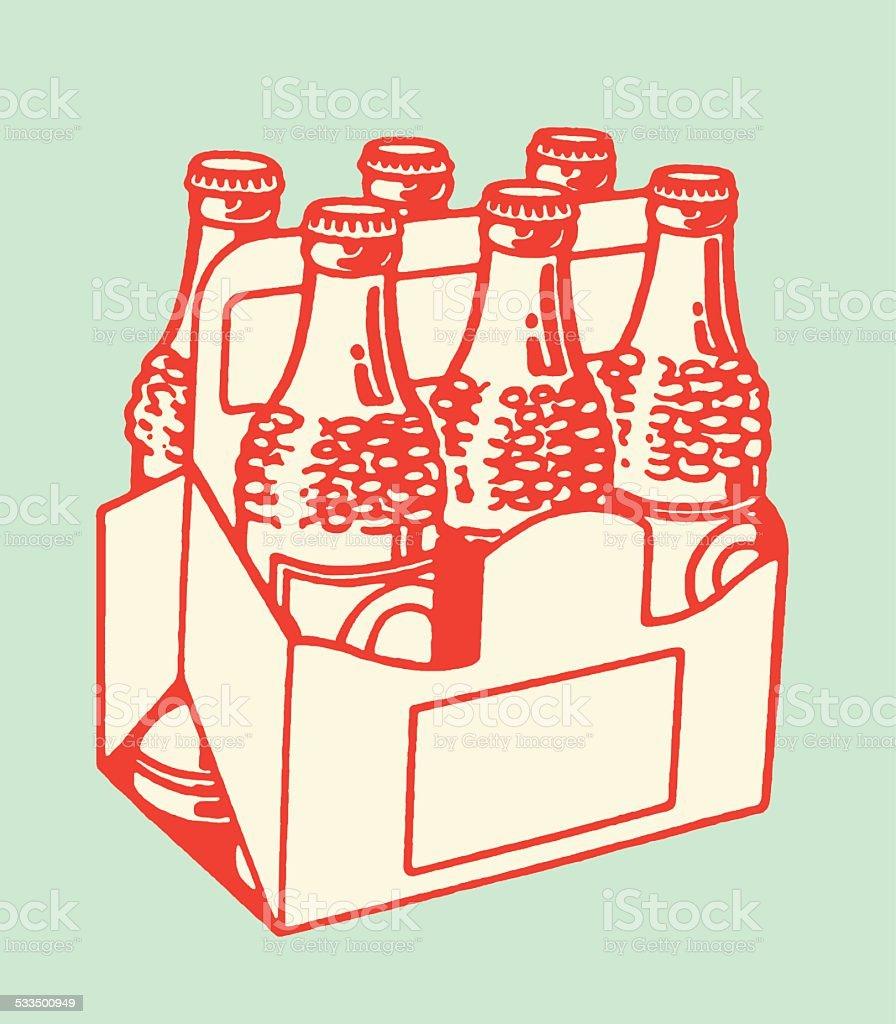 Six Pack of Bottled Drinks vector art illustration