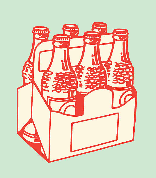 six pack of bottled drinks - bachelor party stock illustrations, clip art, cartoons, & icons