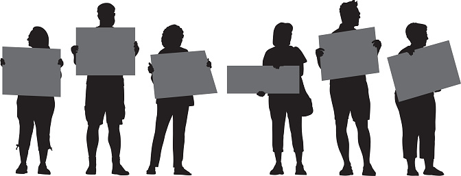 Six People Protesting Silhouettes