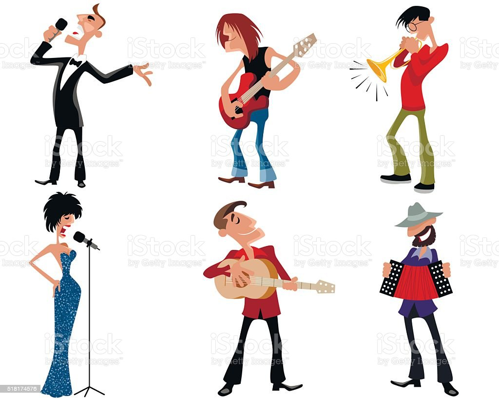 Six person of artists vector art illustration