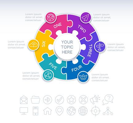 Six Piece Circle Puzzle Infographic Element