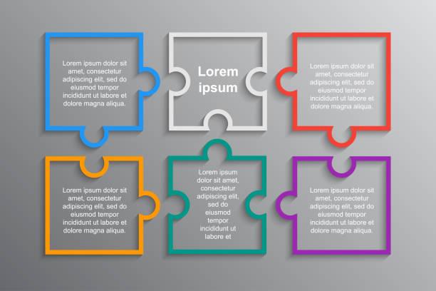 ilustrações de stock, clip art, desenhos animados e ícones de six pieces puzzle squares diagram. squares jigsaw presentation infographic. - inteiro