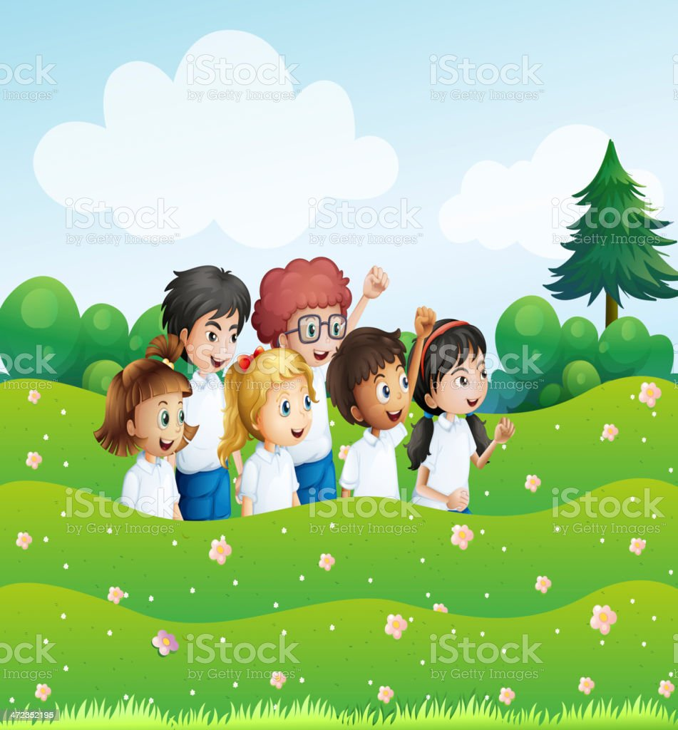 Six playful kids at the hill royalty-free stock vector art