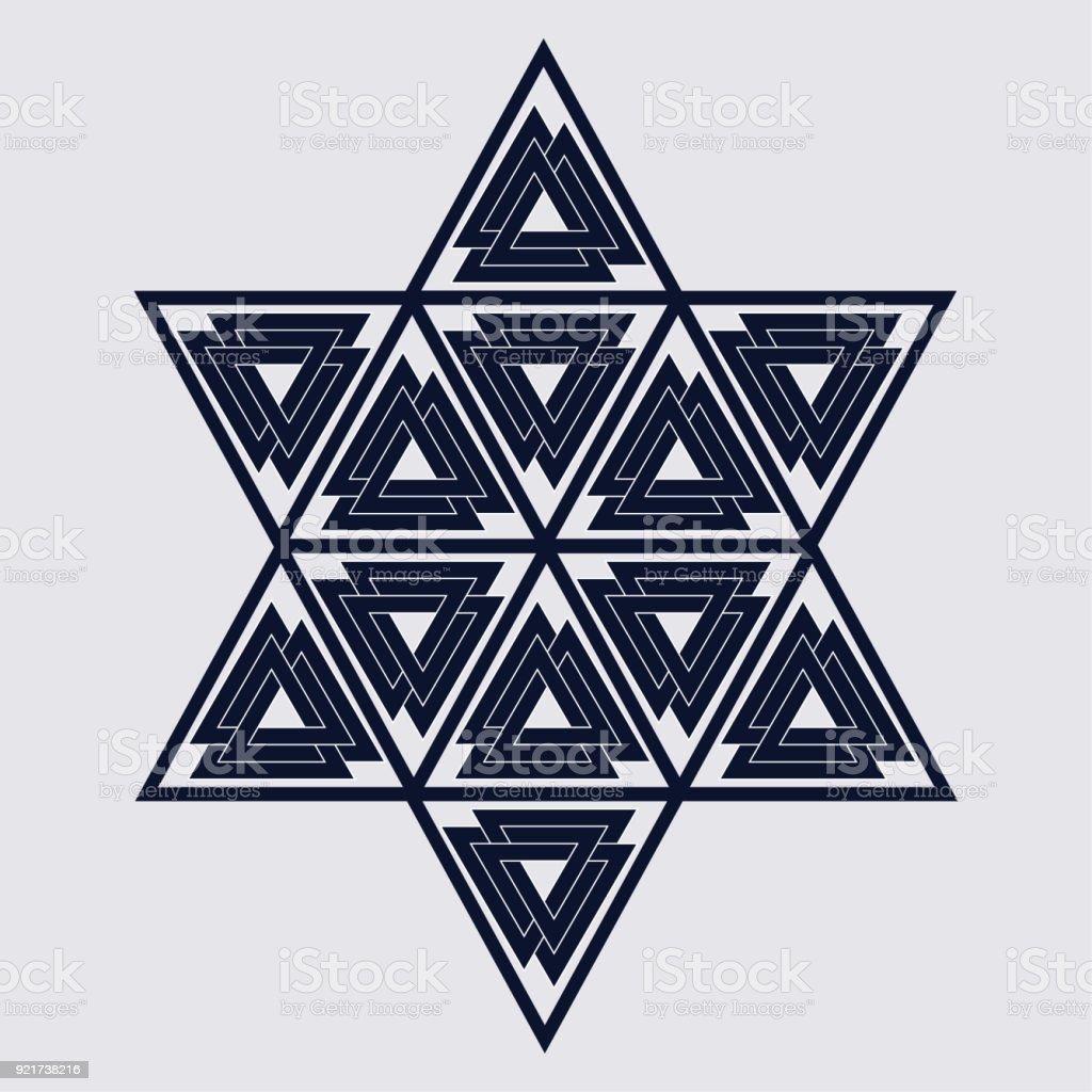 Altı Köşeli Yıldız Veya Hexagram Ile Valknuts Modern Vektör Bir