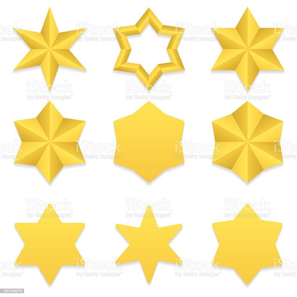 Six point stars collection vector art illustration